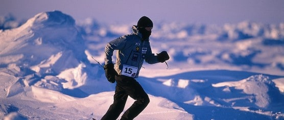 A runner competes in the North Pole Marathon. (Photo courtesy North Pole Marathon)