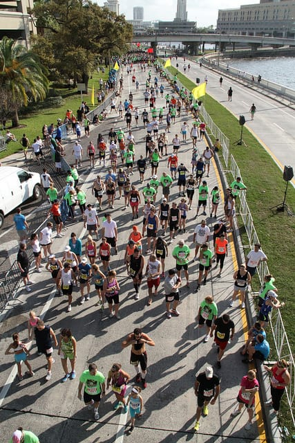 Runners lining up near the start of the 2011 Gasparilla Distance Classic. (Photo by Gordon Tarpley/flickr)