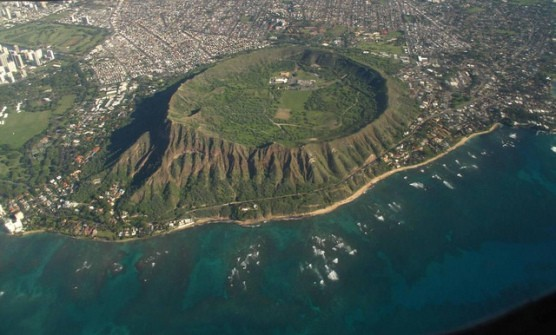 Diamond Head, Hawaii, as viewed from a plane. (Photo by Eric Tessmer/flickr)