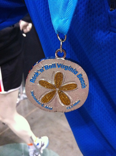 The Rock 'n' Roll Virginia Beach Half Marathon finisher's medal from 2010. (Photo by Elizabeth K/flickr)