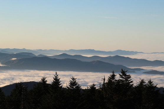 Great Smoky Mountains National Park, as viewed from Clingman Dome. (daveynin/flickr)