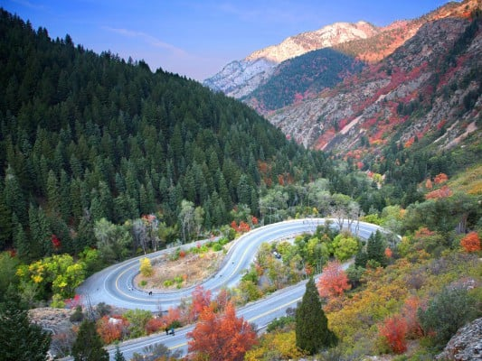 A view of the course along Highway 190 from above, at the Revel Big Cottonwood Half Marathon. (Photo courtesy RunRevel)