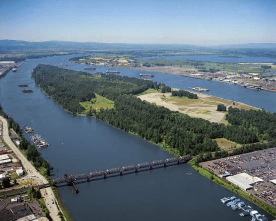 Aerial view of Hayden Island in the Columbia River, near Vancouver, Wash. (Photo by Sam Churchil/flickr)