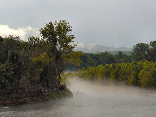 Mist rises above the White River in Arkansas. (Photo by Thomas & Dianne Jones/flickr)
