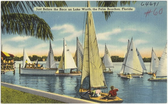 Vintage postcard of Lake Worth, Fla. (Photo by Boston Public Library/flickr)