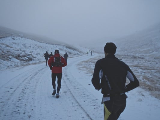 Runners in the Polar Circle Marathon. (Photo by Laurent Gillioz/flickr)