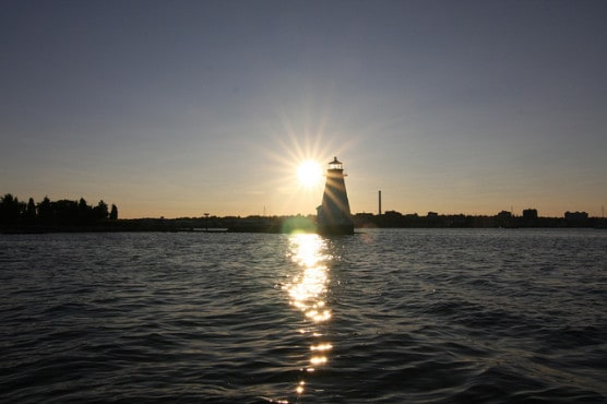 The Palmers Island Lighthouse near New Bedford, Mass. (Photo by Massachusetts Office of Tourism)
