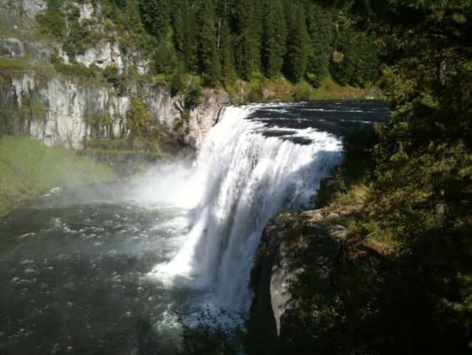 The Mesa Falls, for which the race is named. (Photo by Terrell Johnson/HalfMarathons.Net)