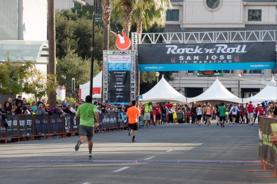 The finish line at the 2013 Rock 'n' Roll San Jose Half Marathon.