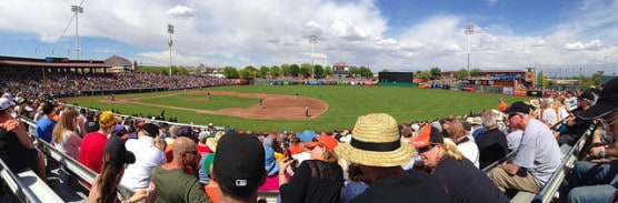 Panoramic view of Scottsdale Stadium during a San Francisco Giants spring training game. (Photo by Don DeBold/flickr)