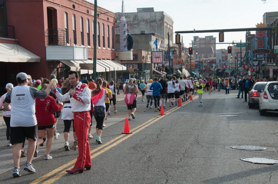 """Elvis"" cheers runners on at the 2013 Memphis Marathon."