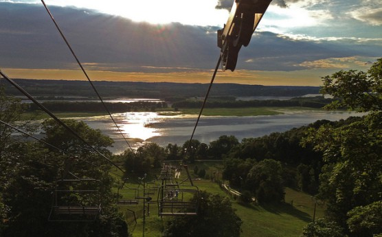 The view from a ski lift at sunset in Chestnut Mountain Resort. (Photo