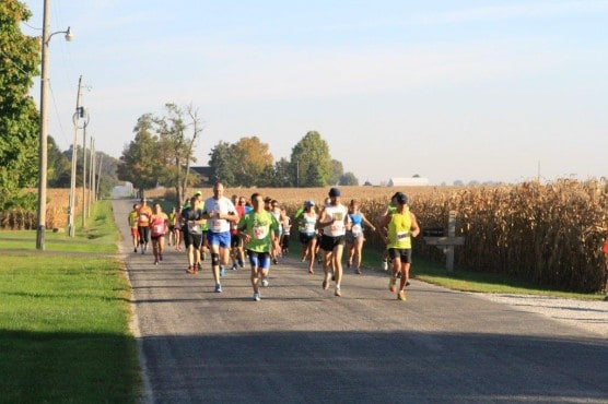 Runners on the course at the 2013 Adams Mill Covered Bridge Half Marathon.