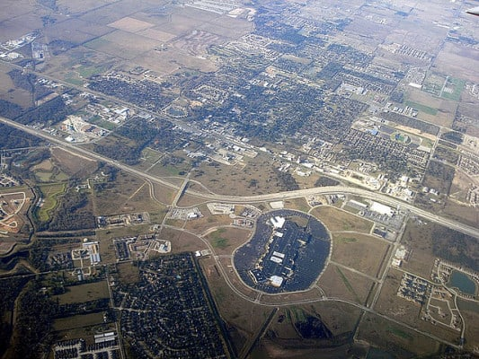 Aerial view of the Katy Mills shopping mall and the nearby neighborhoods where the Katy Half Marathon course will run. (Photo by Joe Wolf/flickr)