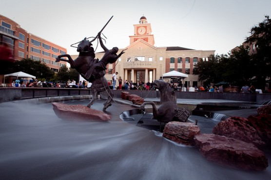 The Sugar Land town square in Sugar Land, Texas. (Photo by Ed Schipul/flickr)