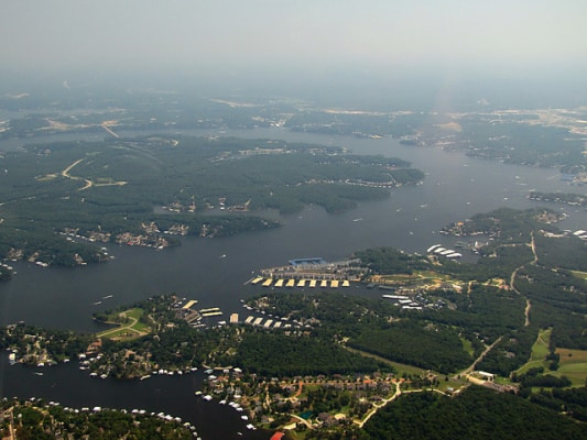 Lake of the Ozarks, Missouri, as seen from the air in April 2010. (Photo by Marydia Baldman/flickr)