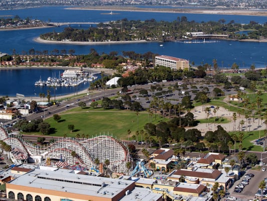 Aerial view of Mission Bay Park, San Diego. (Photo by Phil Konstantin/flickr)