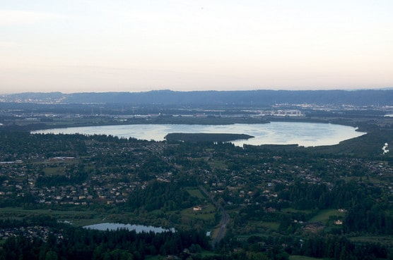 Aerial view of Vancouver Lake, Wash. (Photo by Sam Beebe/flickr)