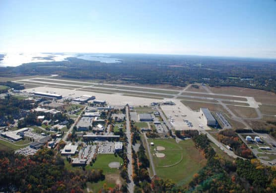 Aerial view of the U.S. Naval Air Station, Brunswick, Maine. (Photo by Wikimedia)