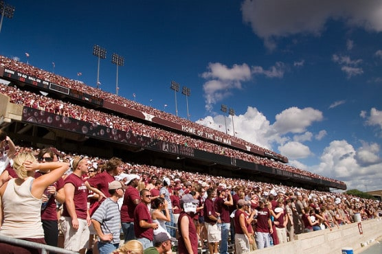 Students at Kyle Field, Texas A&M University, College Station, Texas. (Photo by Stuart Seeger/flickr)