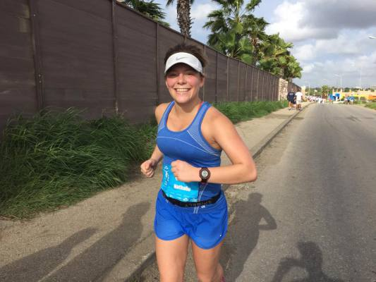 Me (Natalie DiBlasio) during the final stretch of the Curaçao Marathon in December 2014.