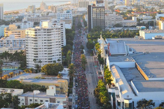 Runners head down Washington Street at the 2011 Miami Beach 13.1 Marathon. (Photo by Curtis Alan Jackson/flickr)