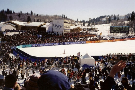 The finish of one of the men's downhill skiing events at the 2002 Winter Olympics. Runners will start at Snowbasin Resort, one of the venues used for skiing events at the 2002 Winter Games. (Photo by Ken Lund/flickr)