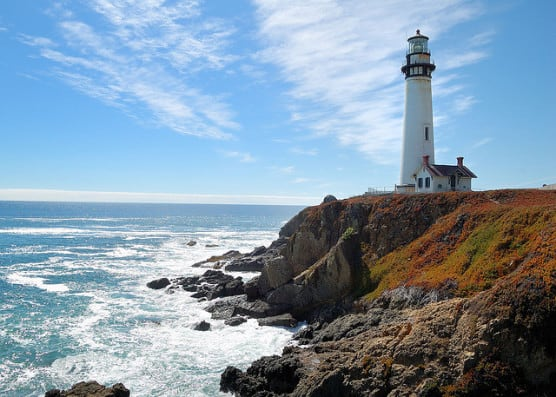 Pigeon Point Lighthouse, which overlooks the Pacific Ocean from Pescadero State Beach, California. (Photo by Don DeBold/flickr)