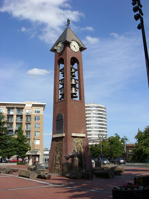 The clock tower in Esther Short Park, Vancouver, Washington. (Photo by Doug Kerr/flickr)