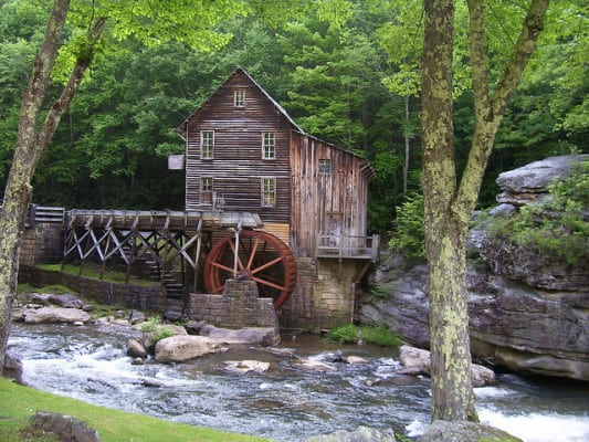 The Glade Creek Gristmill in Babcock State Park, West Virginia. (Photo by Ed Kennedy/flickr)