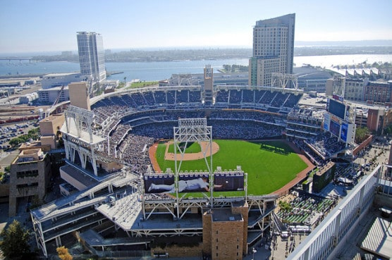 San Diego's Petco Park, where the San Diego Half Marathon finish line lies. (Photo by SD Dirk/flickr)