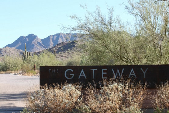 At the entrance to the McDowell Sonoran Preserve in Scottsdale, Arizona, which runners will pass by during the race. (Photo by Dru Bloomfield/flickr)
