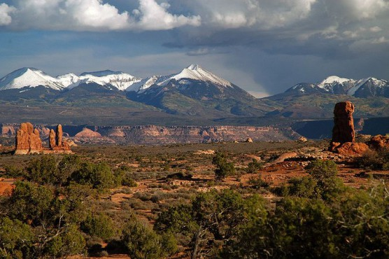 The peaks of the Manti-La Sal National Forest as seen from Utah's Arches National Park. (Photo by Wikimedia)