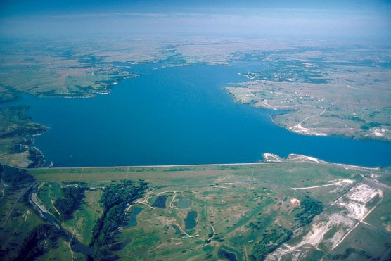 Aerial view of Benbrook Lake and Dam, Texas. (Photo by U.S. Army Corps of Engineers)