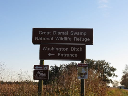 The entrance to the Great Dismal Swamp Wildlife Refuge. (Photo by Sin Jones/flickr)