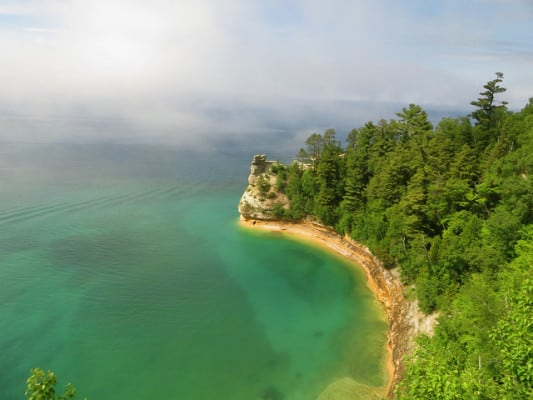 Along the Pictured Rocks National Seashore just off the coast of Grand Island, Michigan. (Photo by Rachel Kramer/flickr)