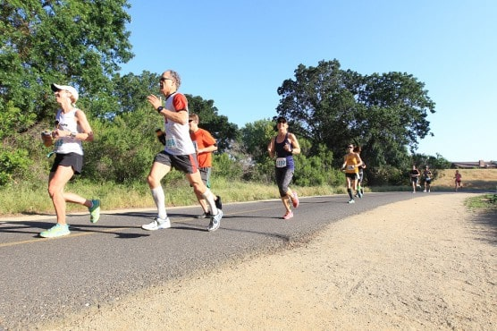 Runners on the course at the American River Parkway race. (Photo courtesy American River Parkway Half Marathon)