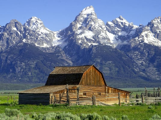 The John Moulton barn at the base of the Tetons. (Photo by Wikimedia)