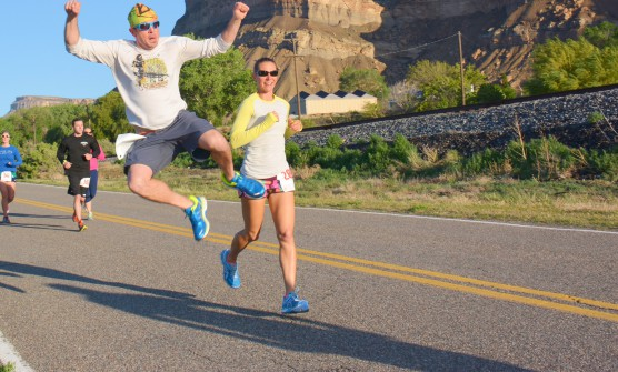 Jumping for joy during the Grand Valley Half Marathon