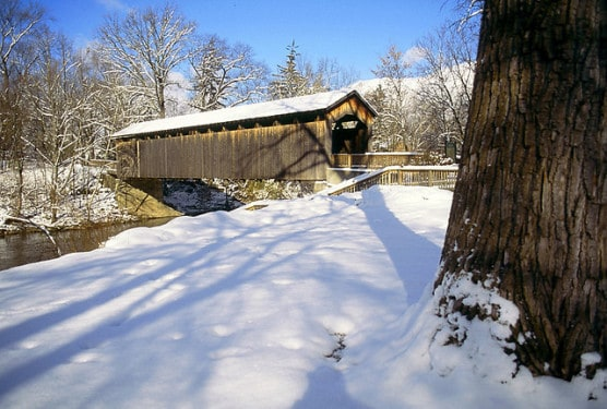 A covered bridge in Fallsburg Park, Lowell, Michigan. (Photo courtesy Chris Landis/flickr)