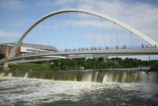 The Iowa Women of Achievement Bridge, which runners cross over around mile 11. (Photo courtesy Dam to Dam Half Marathon)