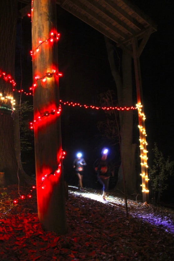 Runners wear headlamps on the trails at the Tread Nightly Half Marathon. (Photo courtesy Whitewater Race Series)