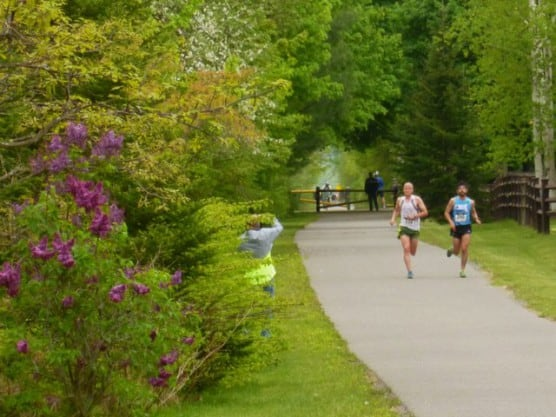 Runners on the Ashuwillticook Rail Trail at the 2015 Steel Rail Half Marathon. (Photo courtesy Berkshire Running Center)