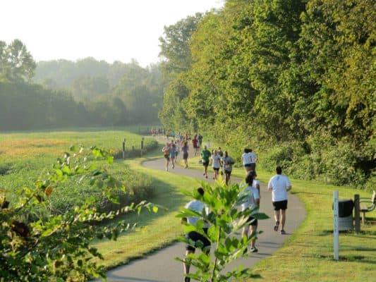 Runners along the trail in Davidson, N.C., at the Run for Green Half Marathon. (Photo courtesy Run for Green Half Marathon)