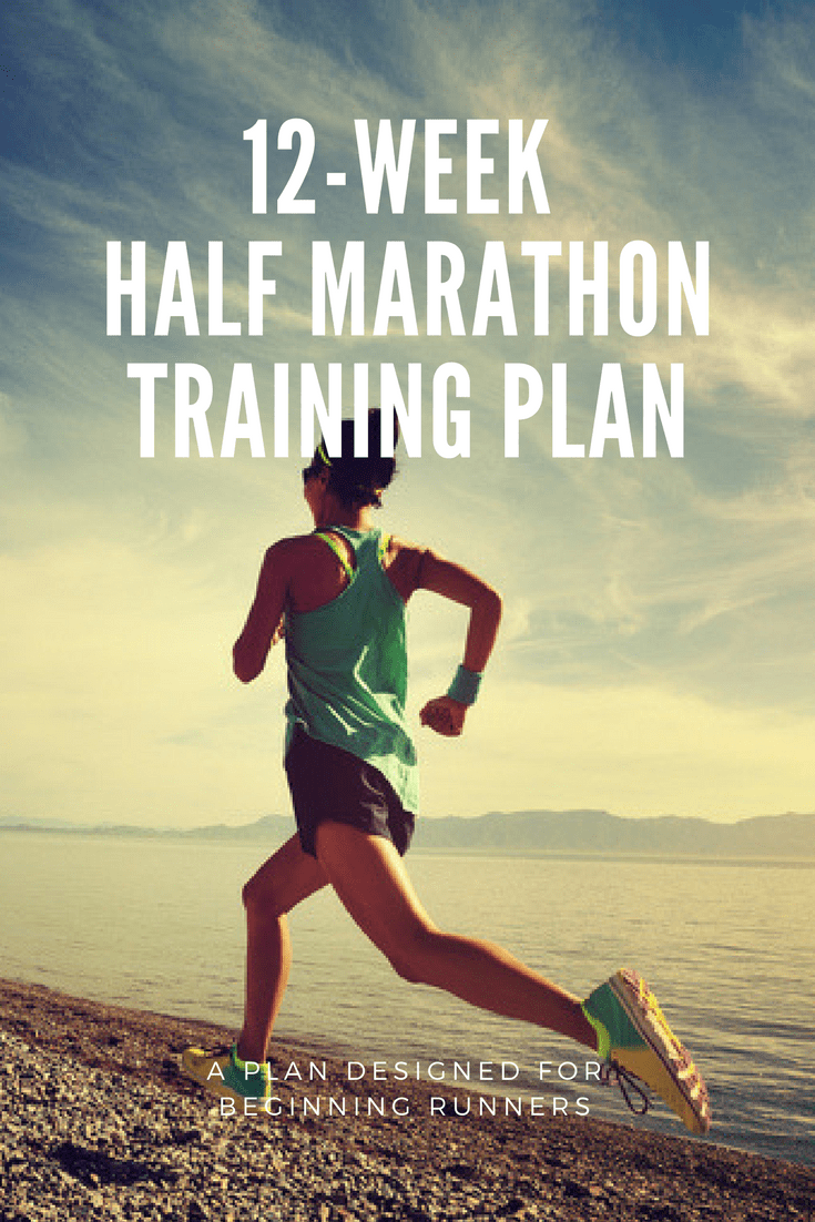 12-week half marathon training schedule for running the 13.1-mile race distance, designed for beginning/novice runners.