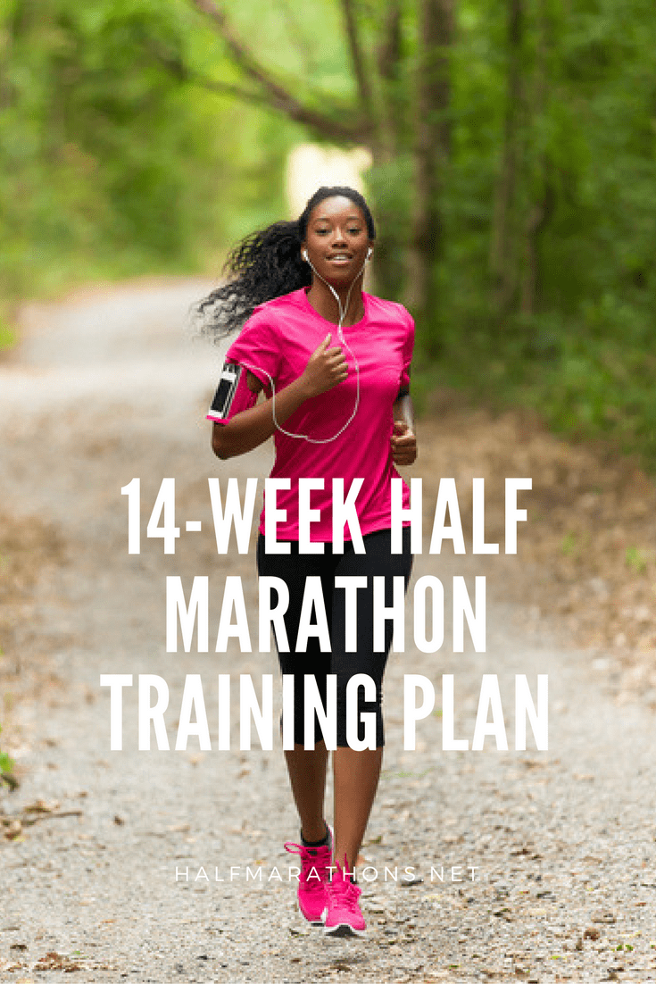 Beginning and experienced runners can both use this 14-week training plan, which starts off slow with only four runs per week and then ramps up to five days later in the schedule.