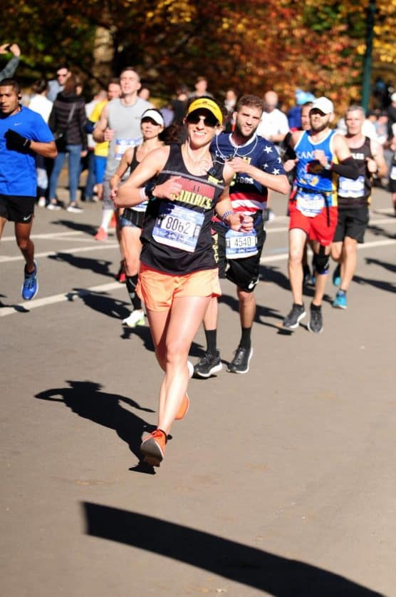 Carissa Liebowitz running the Boston Marathon earlier this year. (Courtesy Carissa Liebowitz)