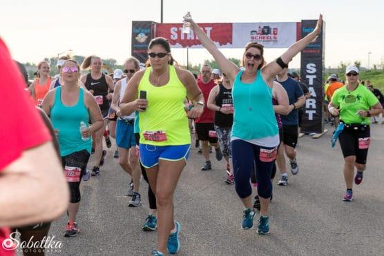 Runners starting the Med City Half Marathon
