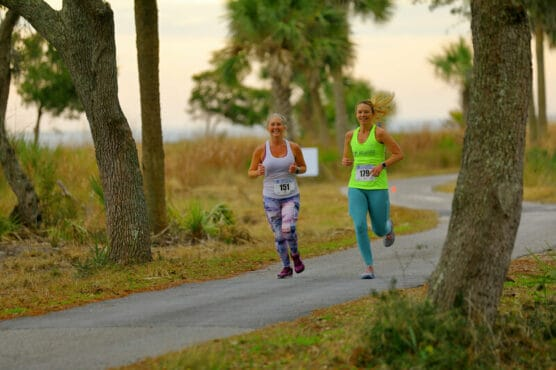 Runners on the course at the Daufuskie Island Marathon in Daufuskie Island, South Carolina.